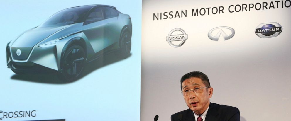 Nissan Motor Co. Chief Executive Hiroto Saikawa speaks during a press conference at its Global Headquarters in Yokohama, near Tokyo Tuesday, May 14, 2019. Japanese automaker Nissan, reeling from the arrest of its former Chairman Carlos Ghosn, reporte