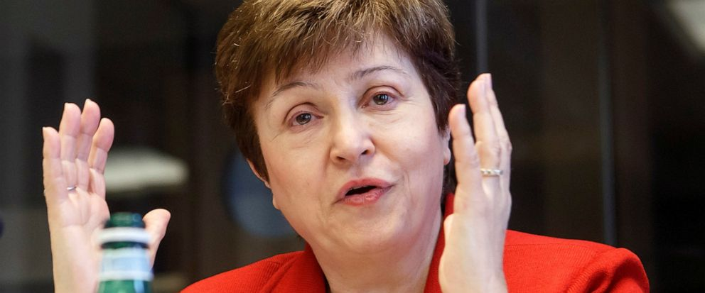 FILE - In a Wednesday, March 7, 2018 file photo, World Bank Chief Executive Officer Kristalina Georgieva speaks during a panel at the European headquarters of the United Nations in Geneva, Switzerland. Georgieva is in line to become the next head of