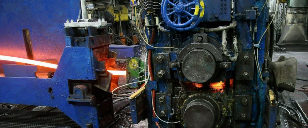 FILE - In this May 9, 2019, file photo, molten steel to make steel rods moves through the production line at the Gerdau Ameristeel mill in St. Paul, Minn. On Friday, June 14, the Federal Reserve reports on U.S. industrial production for April. (AP Ph