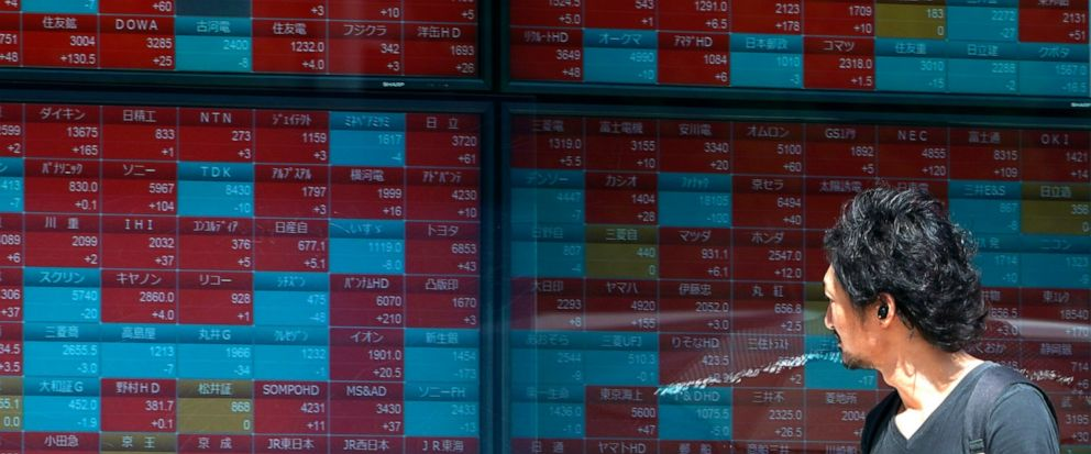 In this Aug. 9, 2019, photo, a man looks at an electronic stock board showing Japans Nikkei 225 index at a securities firm in Tokyo. Asian shares were mostly higher Wednesday, Aug. 14, 2019 after the U.S. said it would hold off on tariffs of Chinese