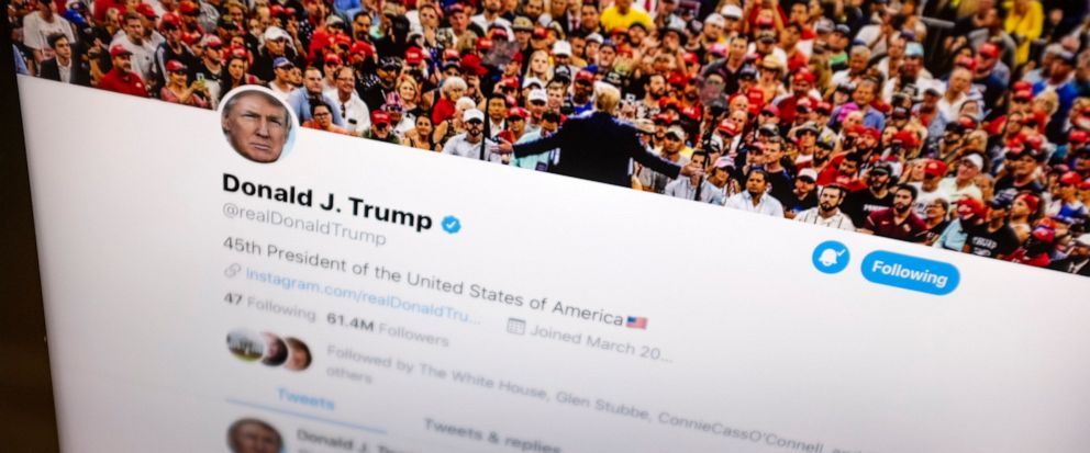 FILE - This June 27, 2019, file photo President Donald Trumps Twitter feed is photographed on an Apple iPad in New York. Financial markets have become so in thrall to Trumps tweets that J.P. Morgan has created an index to help identify how much vol