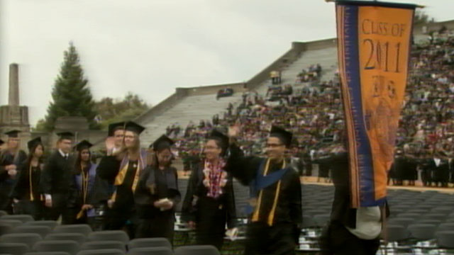 PHOTO:This years crop of new college graduates are left to face the sobering reality of a poor job market, lower salaries, and an average debt of $24,000.