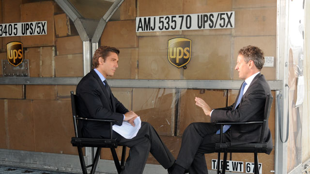 PHOTO: Treasury Secretary Timothy Geithner is interviewed by ABC News David Muir