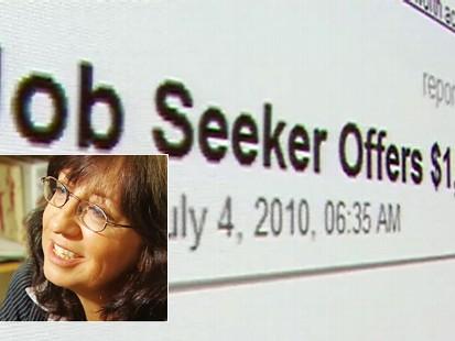 Video: Woman offers a reward to find a job.