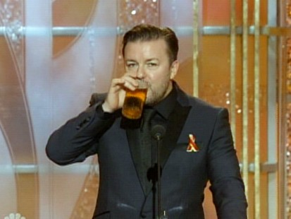 VIDEO: Ricky Gervais uses role as Golden Globes host to joke about NBC and Mel Gibson.