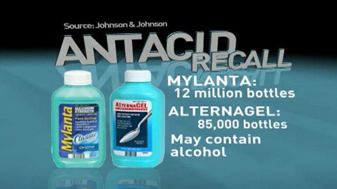 VIDEO: Mylanta antacid products are pulled from shelves for not posting alcohol content.