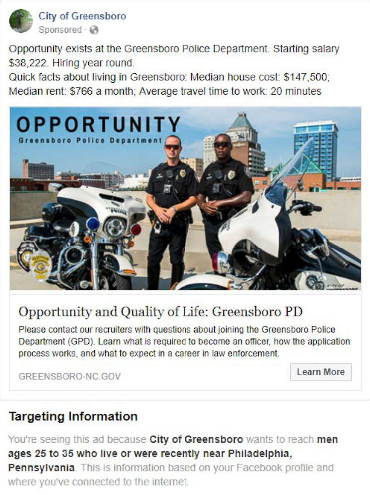 PHOTO: This undated image provided by the American Civil Liberties Union shows a Facebook advertisement for jobs at the City of Greensboros police department.