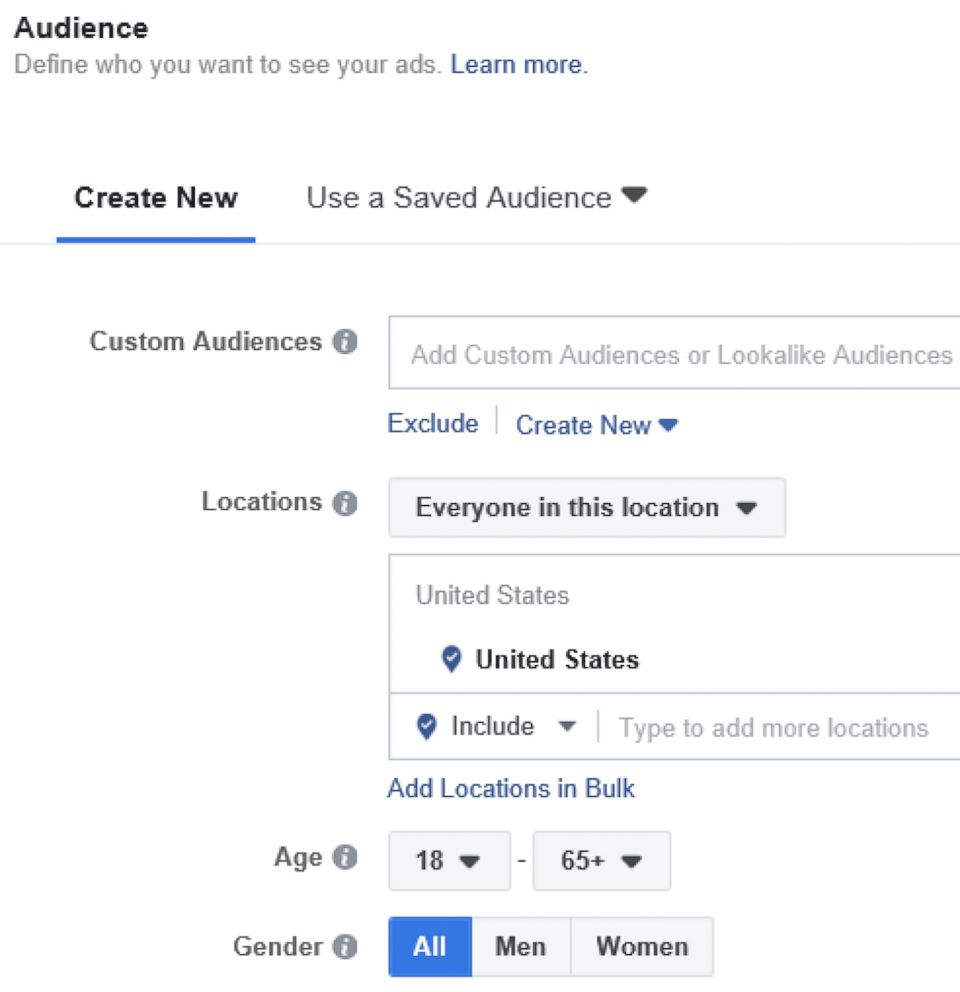 PHOTO: This undated image provided by American Civil Liberties Union shows Facebook ads audience targeting by gender.