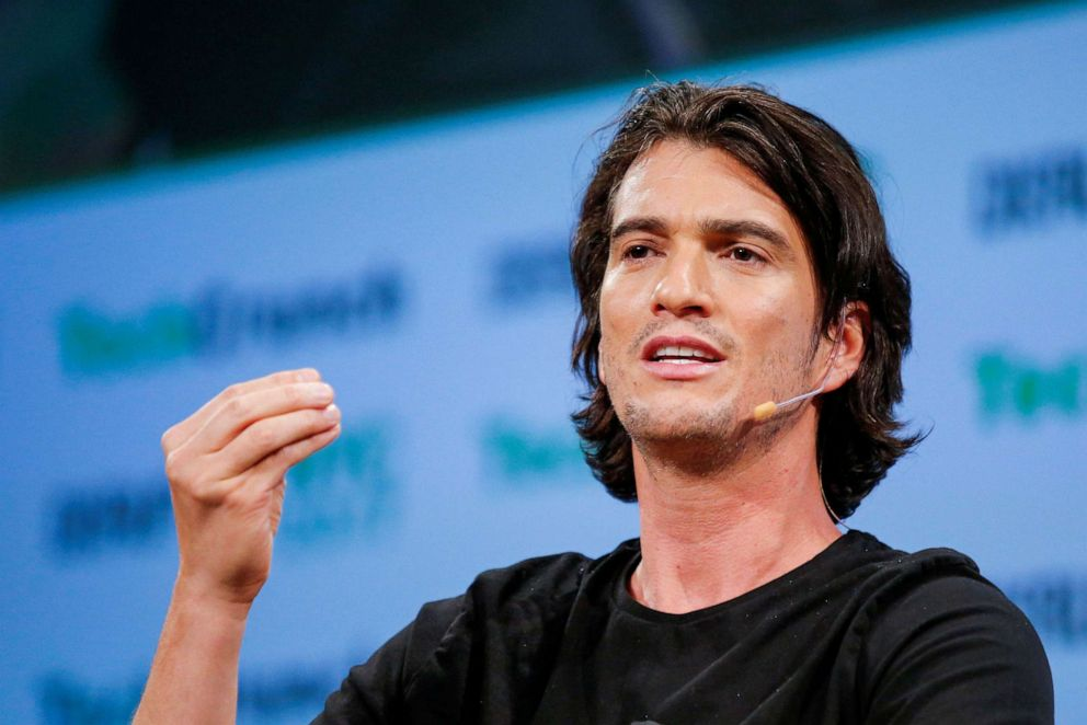 PHOTO: Adam Neumann, CEO of WeWork, speaks to guests during the TechCrunch Disrupt event in New York City, May 15, 2017.