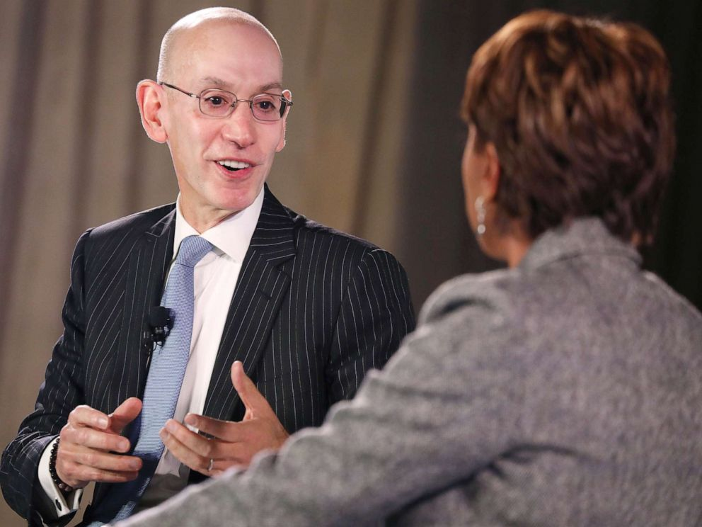 PHOTO: Commissioner of the NBA, Adam Silver and Robin Roberts speak onstage during the TIME 100 Health Summit at Pier 17, Oct. 17, 2019 in New York City.