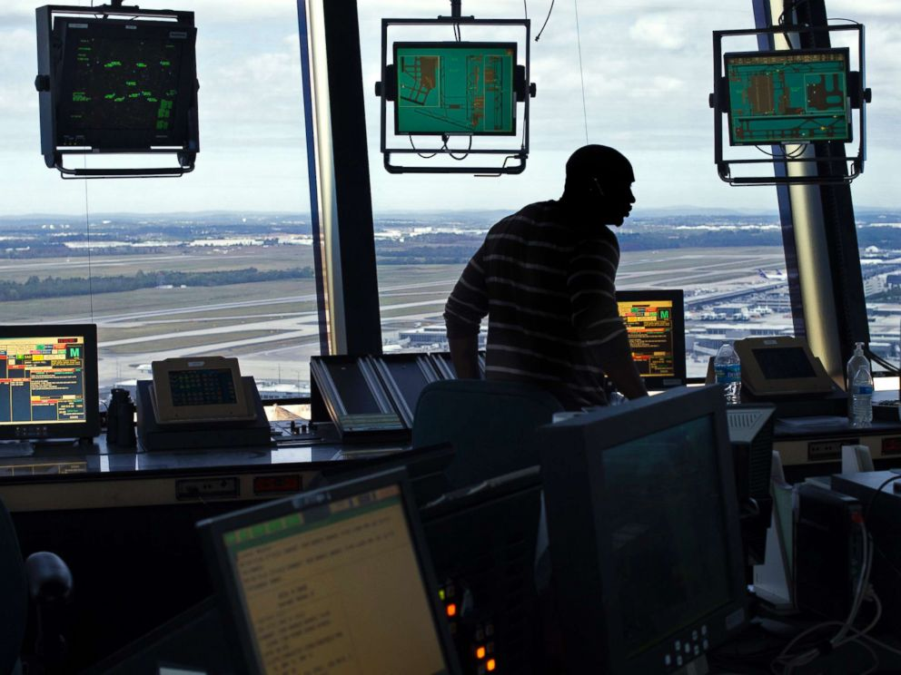 PHOTO: In this Sept. 27, 2016 file photo an FAA Air Traffic Controller works in the Dulles International Airport Air Traffic Control Tower in Sterling, Va., Sept. 27, 2016.