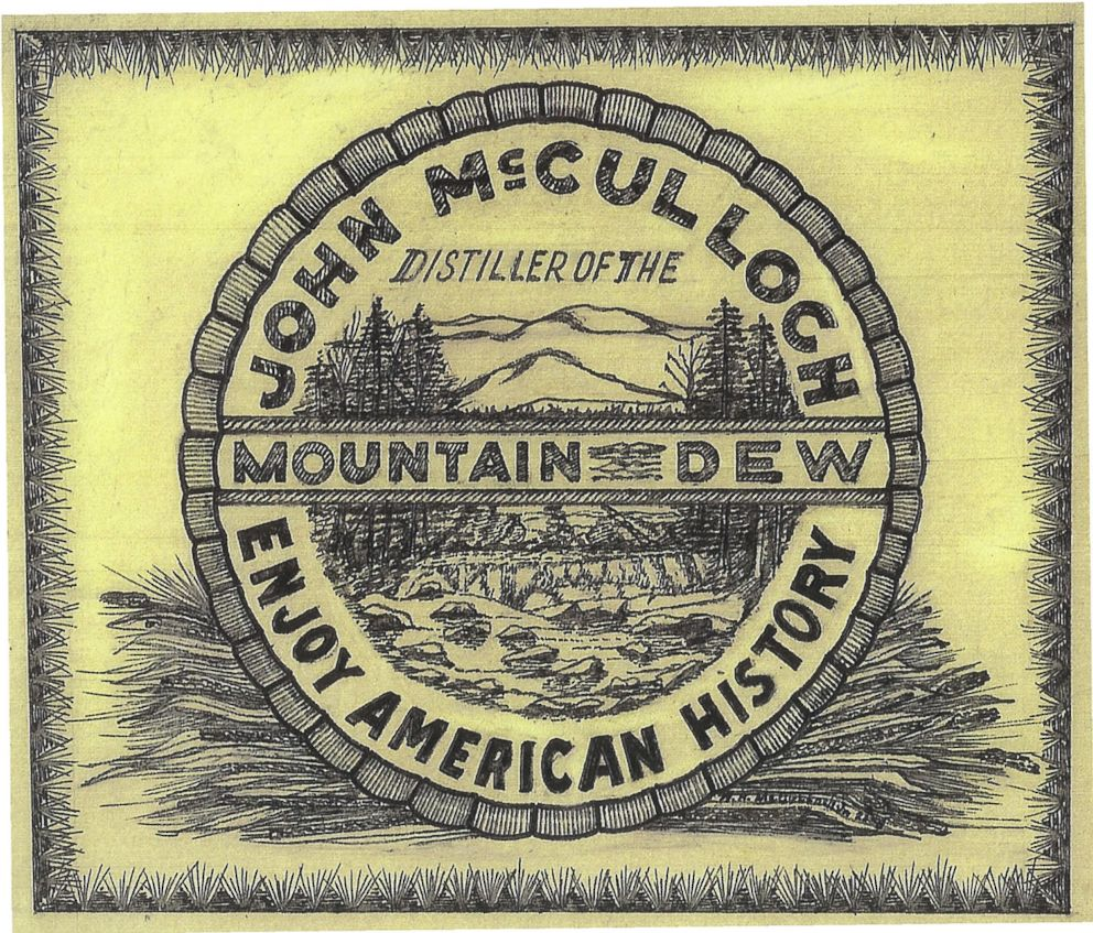 PHOTO: The logo for the alcoholic Mountain Dew that was sold by John W. McCulloch in Owensboro, KY starting in the late 1800s.