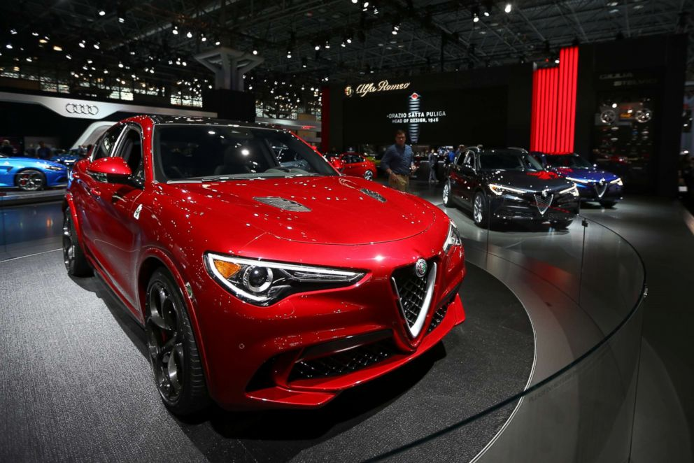 Alfa-Romeo Stelvio Quadrifoglio SUV is displayed at the New York International Auto Show, at the Jacob K. Javits Convention Center in New York City, April 12, 2017.
