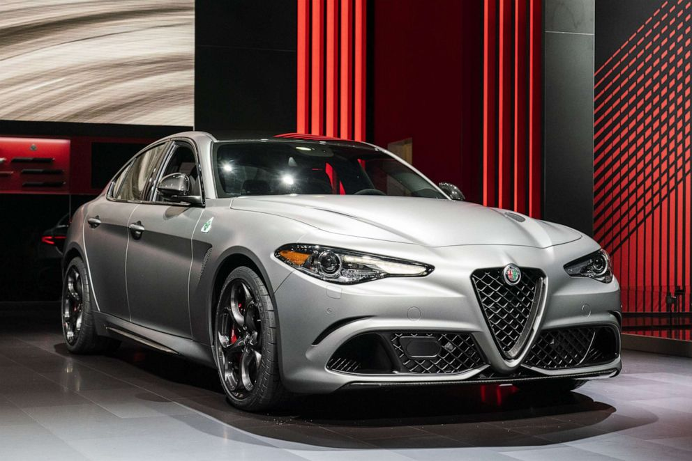 PHOTO: An Alfa Romeo Giulia sedan seen at the 2019 New York International Auto Show (NYIAS) in New York, April 17, 2019.