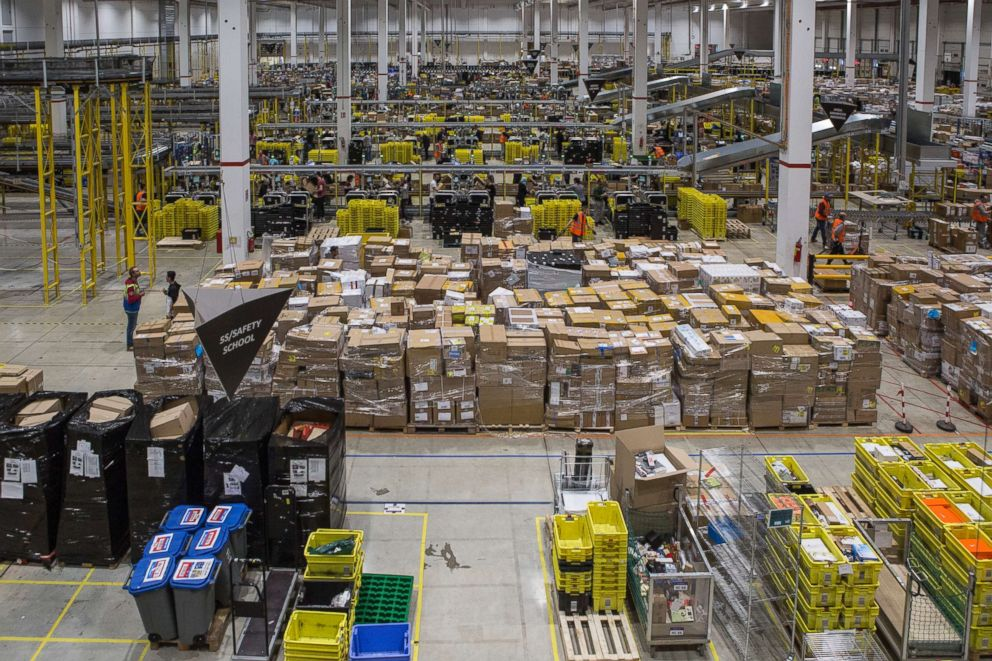 PHOTO: A general view of the inbound area of the Amazon.com MPX5 fulfillment center on November 17, 2017 in Castel San Giovanni, Italy.