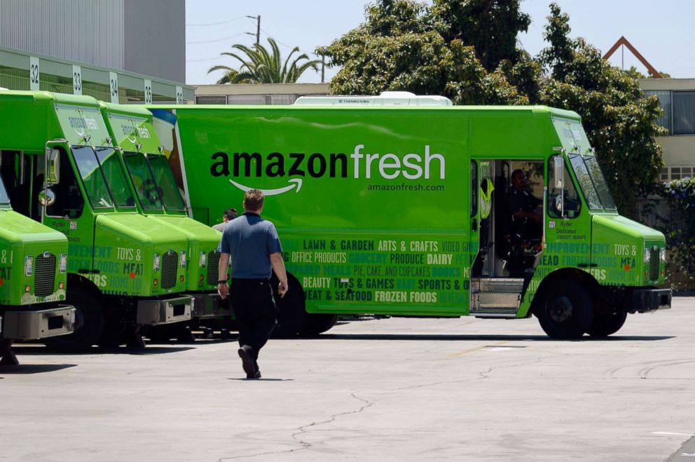PHOTO: An Amazon Fresh truck arrives at a warehouse, June 27, 2013, in Inglewood, Calif.