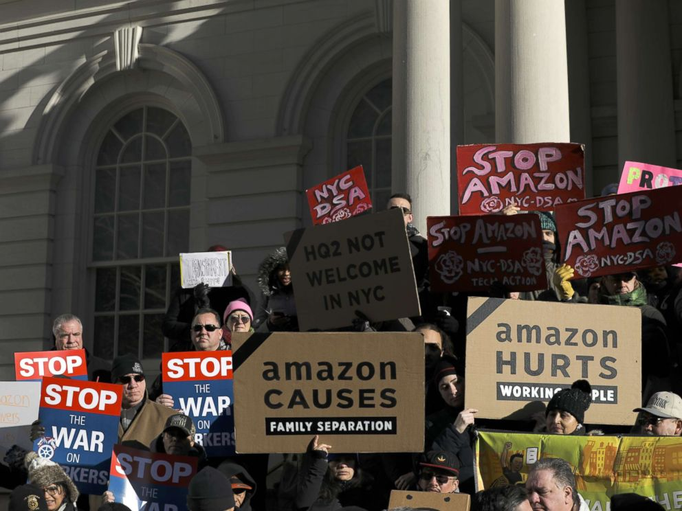 PHOTO: Protestors rally against Amazon and the companys plans to move their second headquarters to the Long Island City neighborhood of Queens, at New York City Hall, Jan. 30, 2019.