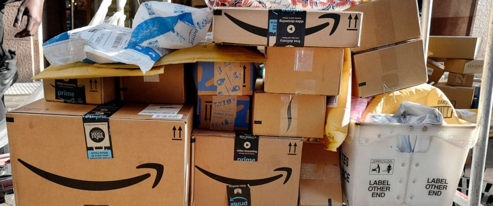 PHOTO: Amazon Prime boxes are loaded on a cart for delivery in New York, Oct. 10, 2018.