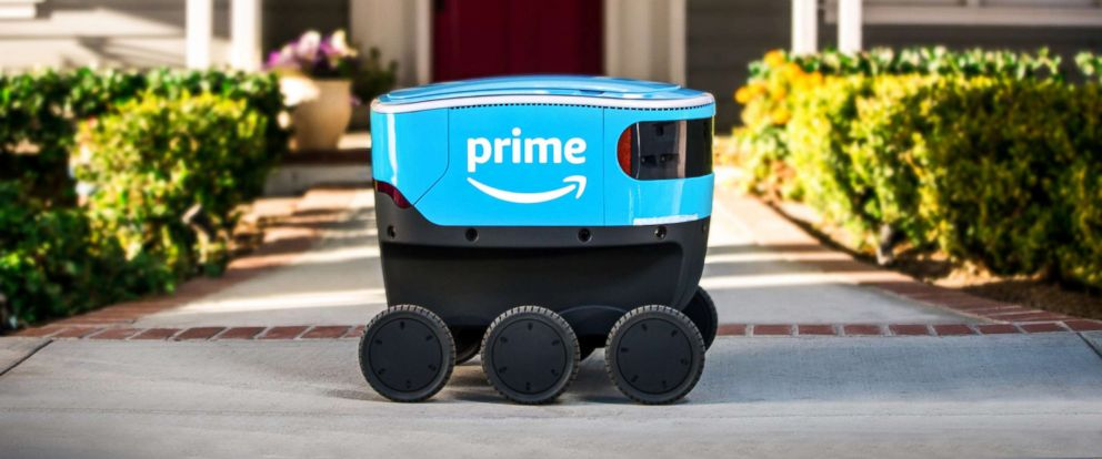 PHOTO: The autonomous delivery device, Amazon Scout, is designed to get packages to customers.