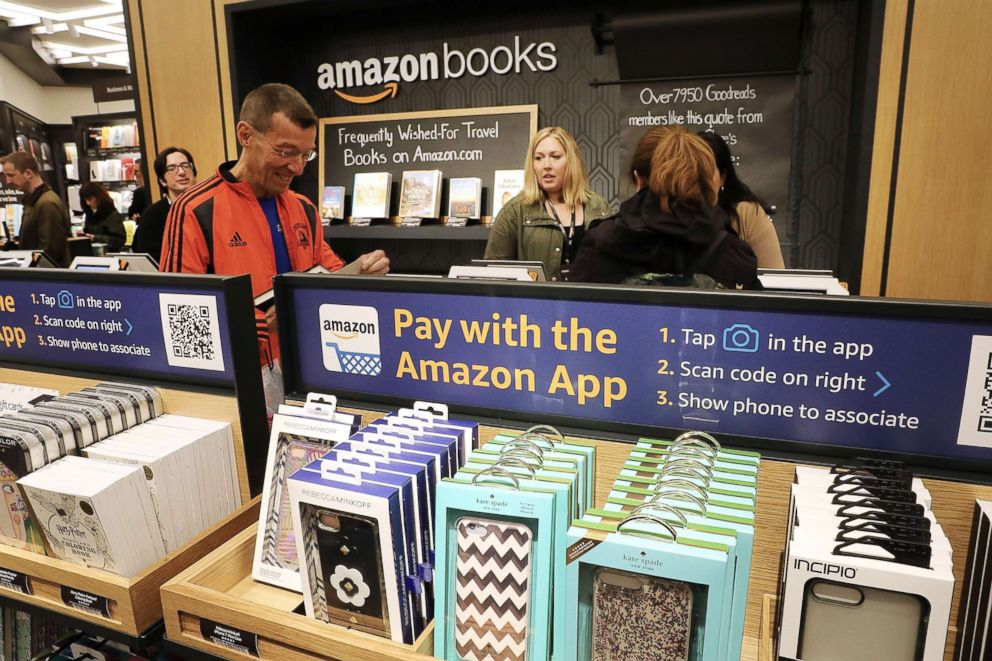 People shop in the newly opened Amazon Books on May 25, 2017, in New York City.