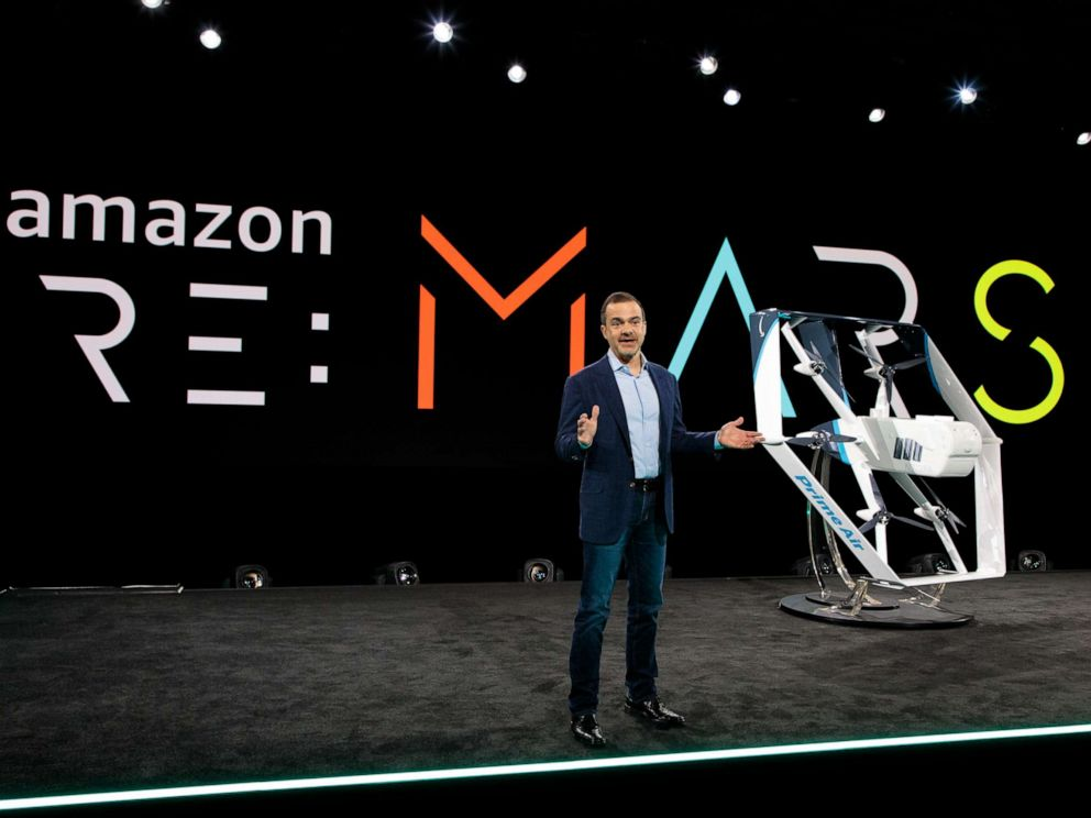 PHOTO: Jeff Wilke, CEO of Amazon Worldwide Consumer, unveiled the companys new drone at the reMARS Conference in Las Vegas on June 5, 2019.