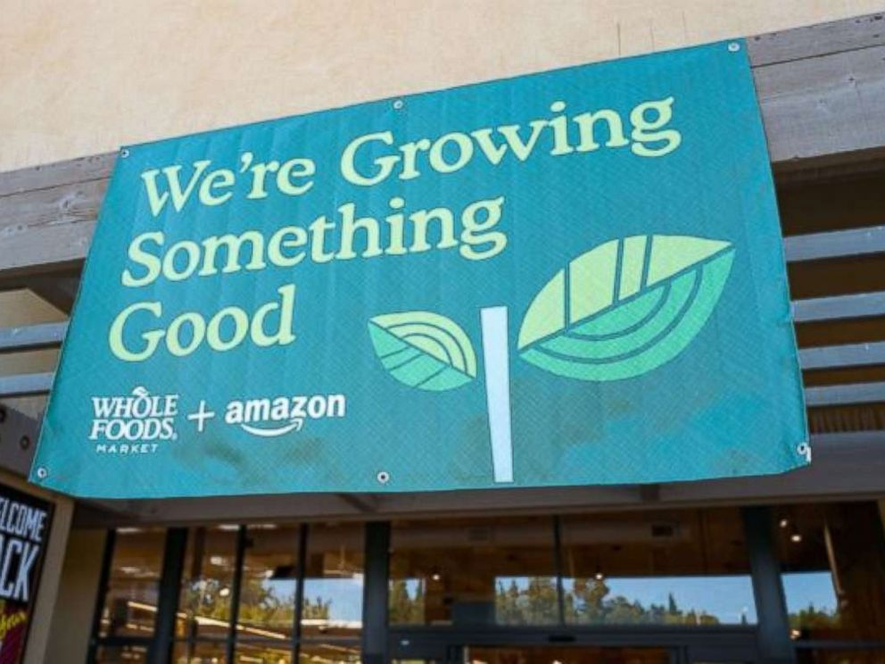 PHOTO: Signage on the Whole Foods Market store in San Ramon, California, reading Were growing something good, announcing the acquisition of Whole Foods Market by online retailer Amazon, Aug. 28, 2017.