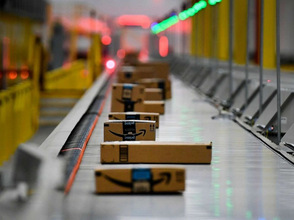 PHOTO: Boxes move along on conveyor belts at Amazons Fulfillment Center on March 19, 2019, in Thornton, Colo.