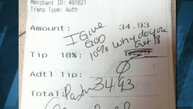 VIDEO: St. Louis waitress posted receipt from pastor who had scribbled a note invoking God in lieu of a tip.