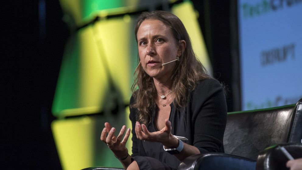 Anne Wojcicki, chief executive officer and co-founder of 23andMe Inc., speaks during the TechCrunch Disrupt 2017 in San Francisco, Sept. 19, 2017.