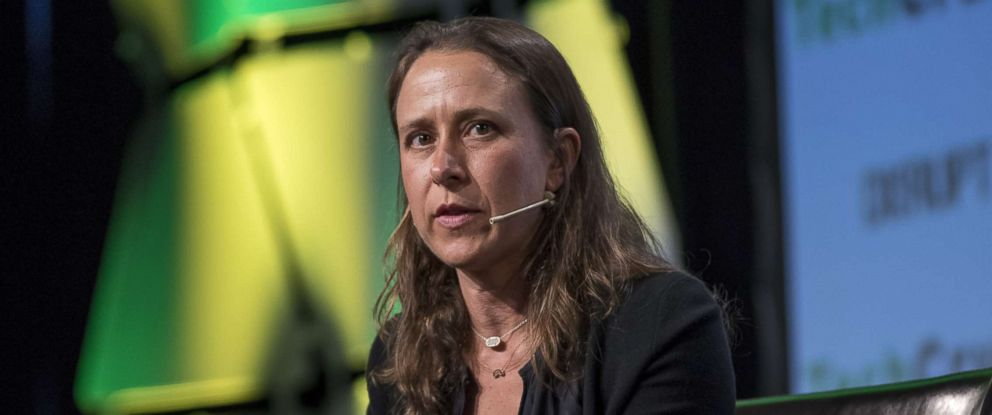PHOTO: Anne Wojcicki, chief executive officer and co-founder of 23andMe Inc., speaks during the TechCrunch Disrupt 2017 in San Francisco, Sept. 19, 2017.