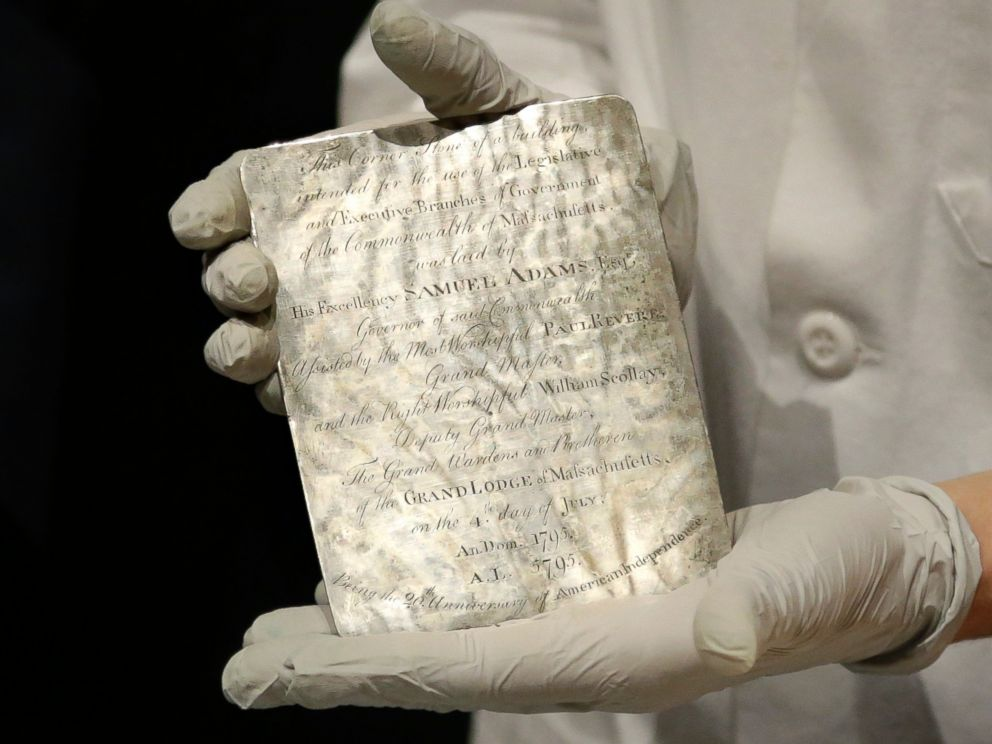 a time capsule with precious documents and possessions from the past era Workers fixing a leak at the massachusetts state house in boston unearthed a time capsule placed in the era patriots paul revere the past to the present.