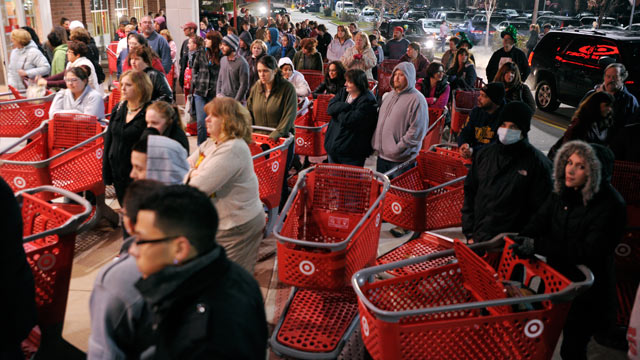 PHOTO: A crowd of shoppers wait outside the Target store in Lisbon, CT., before the store opens for Black Friday, Nov. 25, 2011.