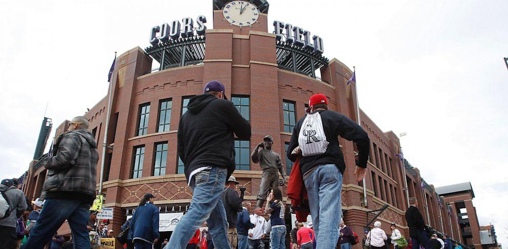 PHOTO: Colorado Rockies fans outside Coors Field