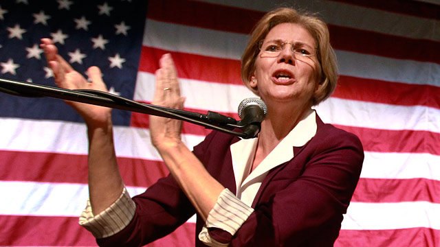 PHOTO: Democratic candidate for the U.S. Senate, Elizabeth Warren addresses an audience during a campaign rally at a high school in Braintree, Mass., Sunday, Nov. 4, 2012.