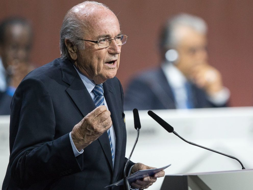 PHOTO: FIFA president Joseph S. Blatter speaks during the 65th FIFA Congress held at the Hallenstadion in Zurich, Switzerland, May 29, 2015, where he runs for re-election.