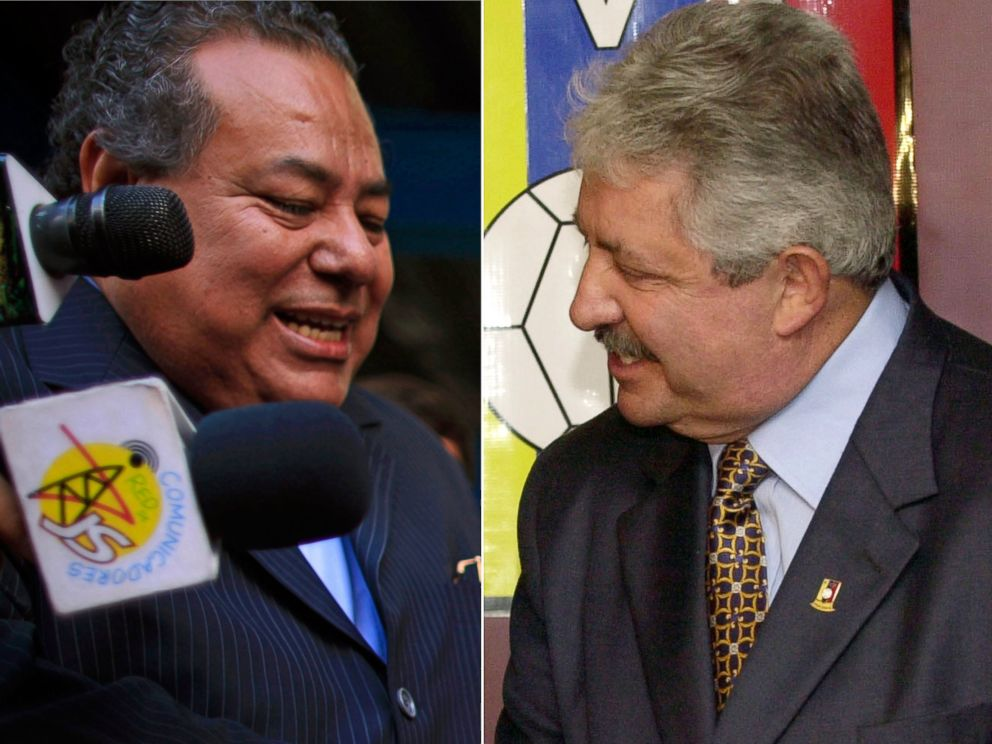 PHOTO: Julio Rocha attends the inauguration of the construction of a new National Soccer Stadium in Managua, Nicaragua on April 14, 2015 and Rafael Esquivel speaks in Caracas, Venezuela on Nov. 8, 2004.