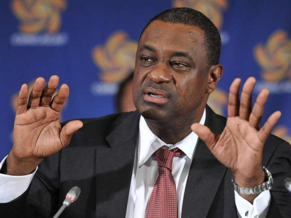PHOTO: CONCACAF president Jeffrey Webb speaks at the CONCACAF presidential election in Budapest, Hungary on May 23, 2012.