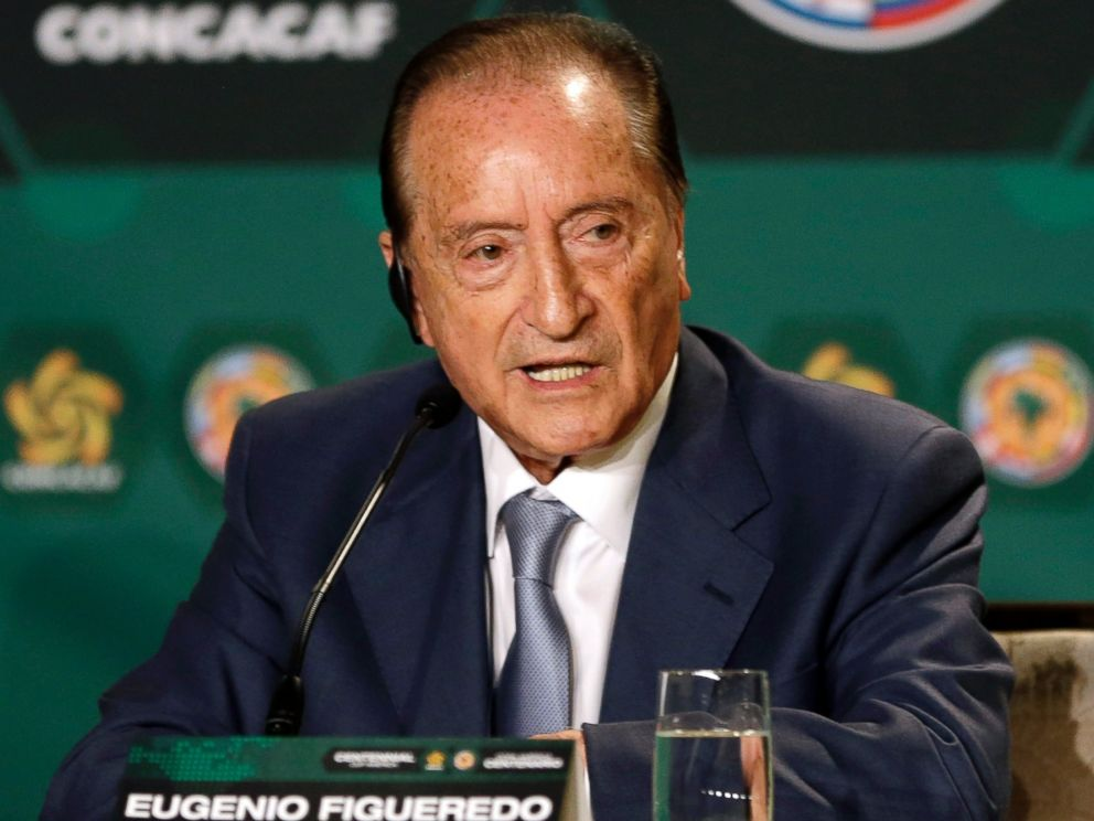 PHOTO: Eugenio Figueredo, president of CONMEBOL, the South America soccer confederation, speaks during a news conference in Bal Harbour, Fla., May 1, 2014.
