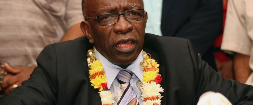 PHOTO: In this June 2, 2011 file photo, suspended FIFA executive Jack Warner gestures during a news conference held shortly after his arrival at the airport in Port-of-Spain, in his native Trinidad and Tobago.
