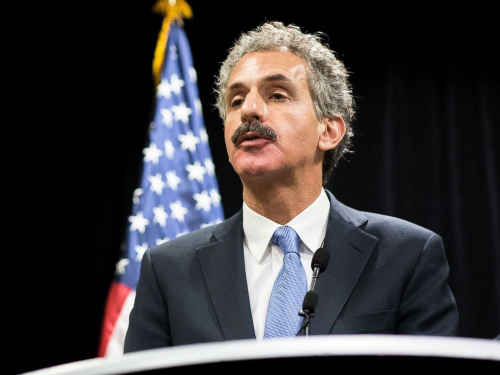 PHOTO: Los Angeles City Attorney Mike Feuer speaks to the press during the inaugural National Prosecutorial Summit, Oct. 21, 2014 in Atlanta.
