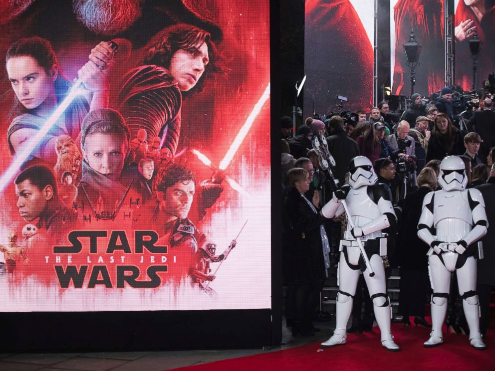 PHOTO: Stormtroopers pose for photographers upon arrival at the premiere of the film Star Wars: The Last Jedi in London, Tuesday, Dec. 12th, 2017.
