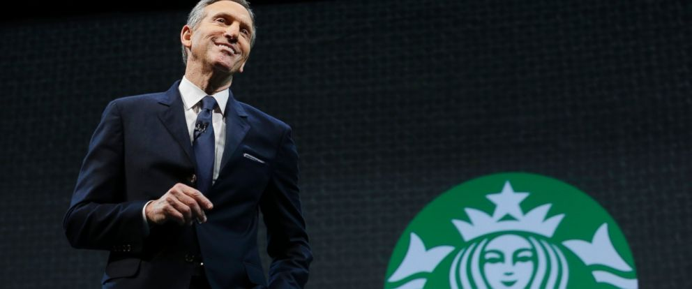 PHOTO: Starbucks CEO Howard Schultz speaks, March 18, 2015 at the coffee companys annual shareholders meeting in Seattle.