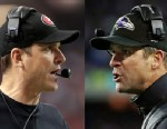 PHOTO: This split image photos shows San Francisco 49ers head coach Jim Harbaugh, left, in Atlanta, and Baltimore Ravens head coach John Harbaugh in Foxborough, Mass., during their NFL football conference championship games on Jan. 20, 2013.