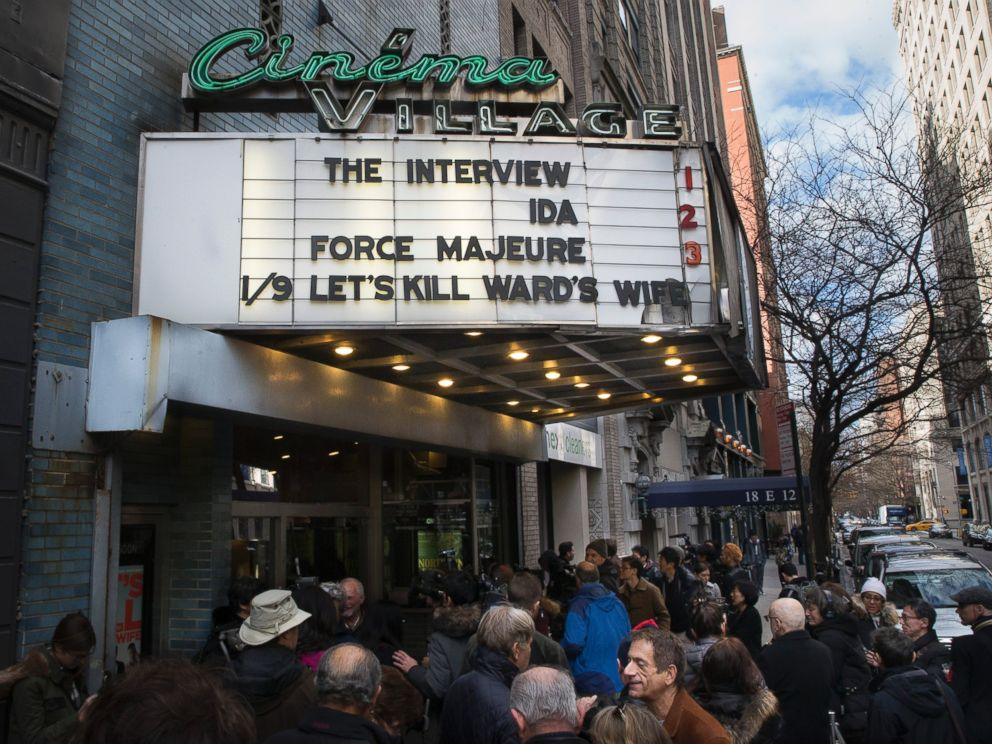 PHOTO: Patrons wait in line to see The Interview at the Cinema Village movie theater on Dec. 25, 2014, in New York City.