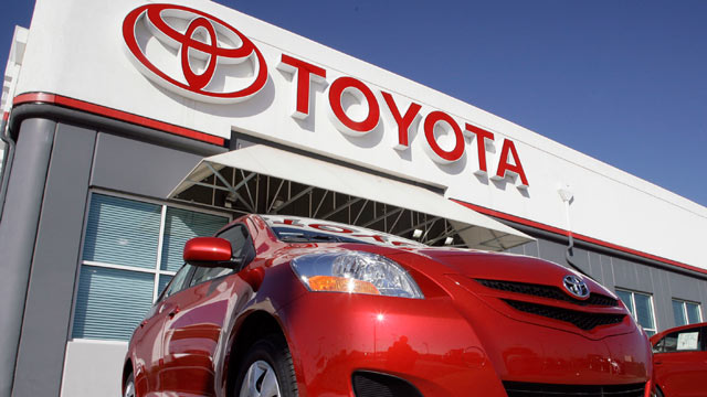 PHOTO: A Toyota sign hangs over a dealership in Centennial, Colo.
