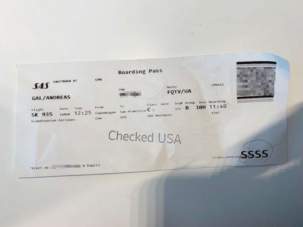 PHOTO: Andreas Gals boarding pass for a March 16, 2019 flight from Copenhagen to San Francisco is marked for secondary screening.