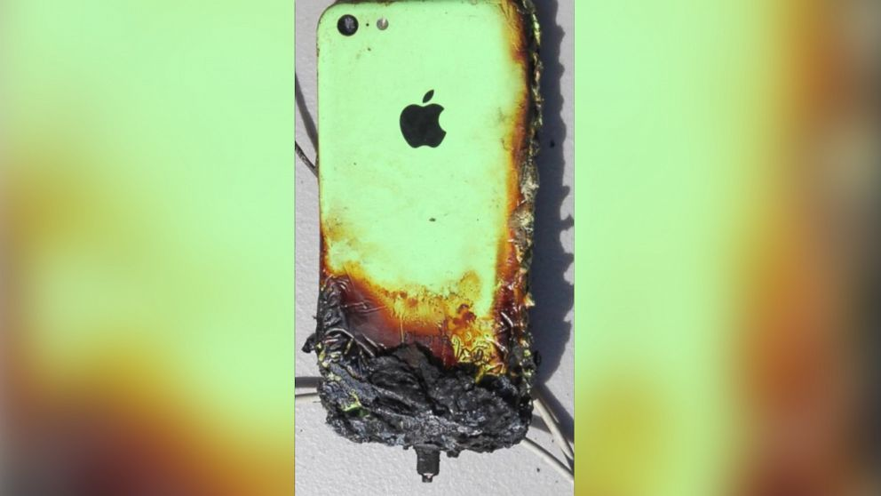 An iPhone that caught on fire is pictured here.