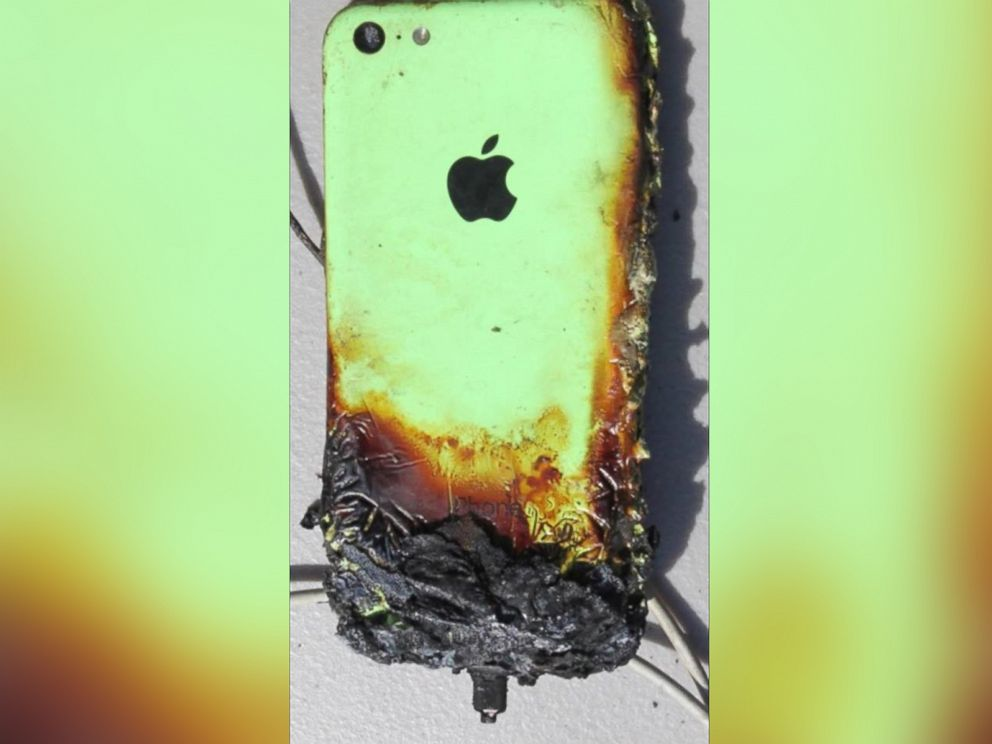 PHOTO: An iPhone that caught on fire is pictured here.