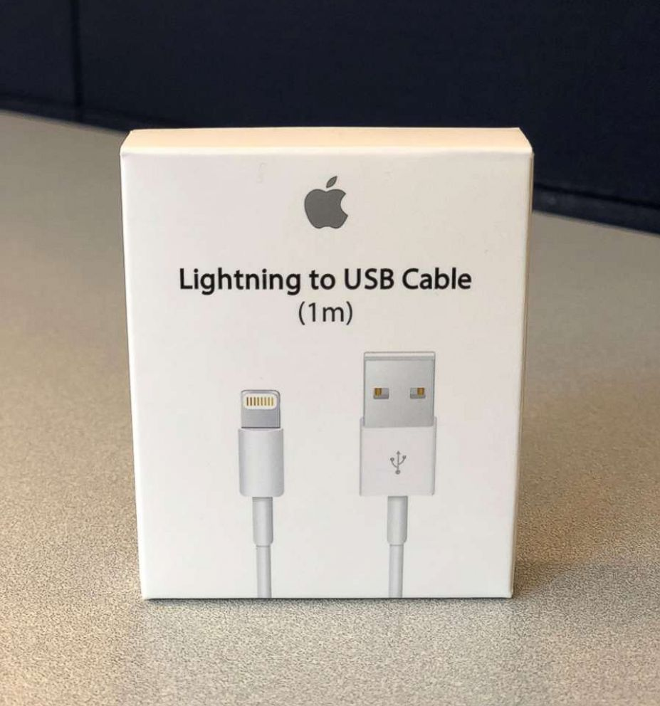 A counterfeit Apple phone cable is pictured here.