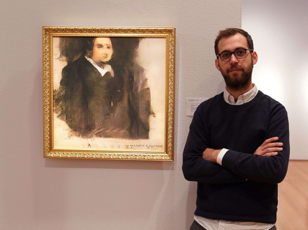 PHOTO: Pierre Fautrel stands next to a work of art created by an algorithm titled Portrait of Edmond de Belamy, at Christies in New York, Oct. 22, 2018.